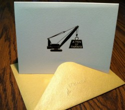 Papyrus Card with Construction Crane